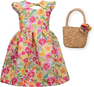 Easter Dress Spring Floral Dress with Basket Purse for Toddler and Little Girls