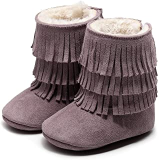 HONGTEYA Real Leather Fringe Baby Booties for Girls Boys Winter Warm Snow Boots with Tassels Soft Sole Fur LinedToddler Mo...