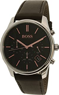 Hugo Boss Men's 42mm Brown Leather Band Steel Case Quartz Analog Watch 1513448