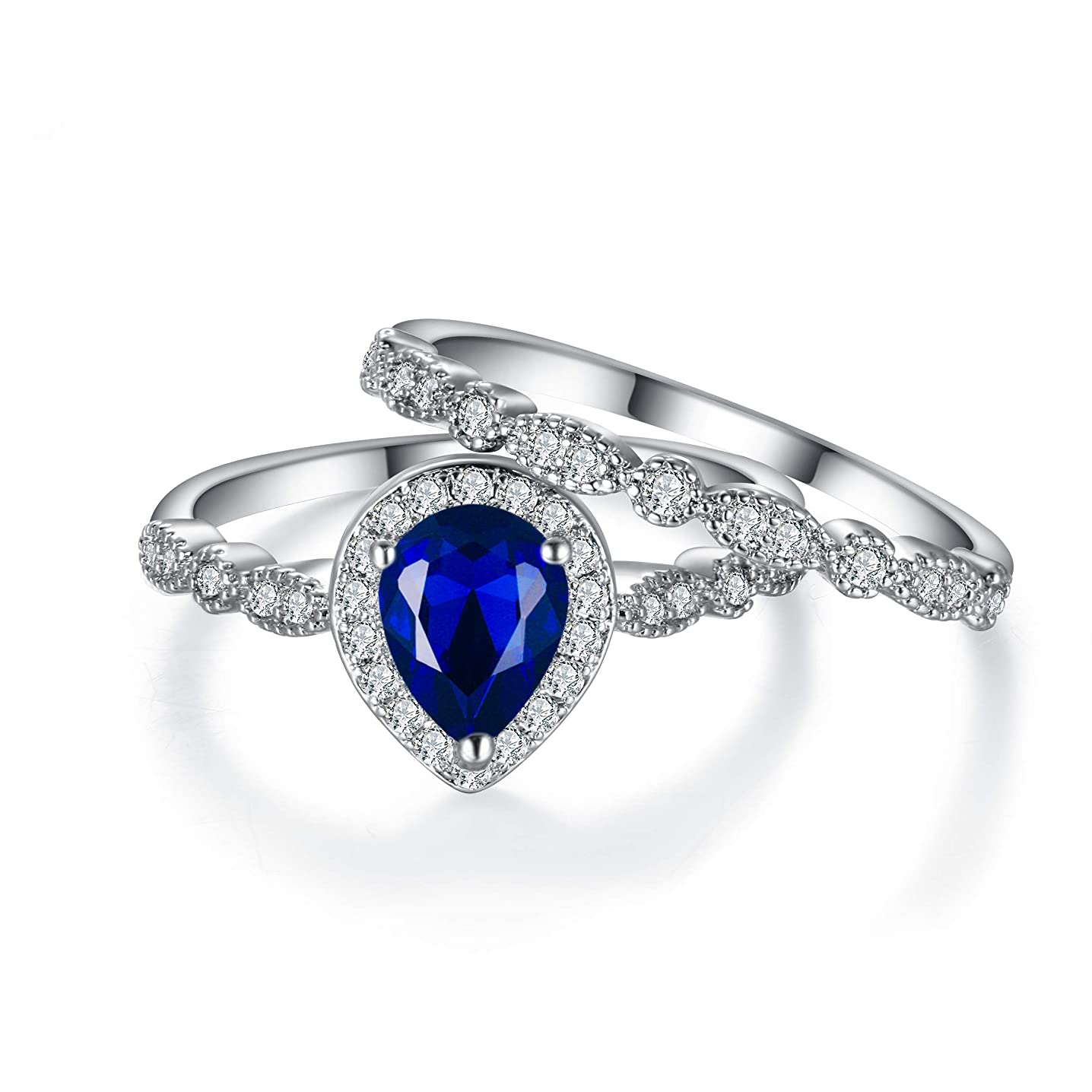 EVER FAITH Prong Cubic Zirconia Elegant Bridal Engagement Blue Pear Shaped Teardrop Wedding Ring Set