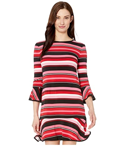 MICHAEL Michael Kors Stripe Flounce Dress (Camelia Rose) Women