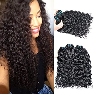 IWISH 8A Water Wave Virgin Human Hair 3 Bundles (14 16 18) Brazilian Virgin Human Hair Weave Bundle Deals On Sale Soft and Fashion Texture No Shedding No Tangle