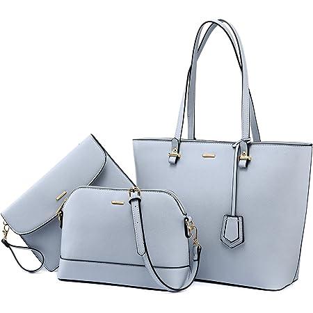 LOVEVOOK Handtasche Damen Shopper Schultertasche Umhängetasche Damen Gross Groß Damen Tasche Tote für Büro Schule Einkauf Reise Gross Leder Handtasche 3-teiliges Set