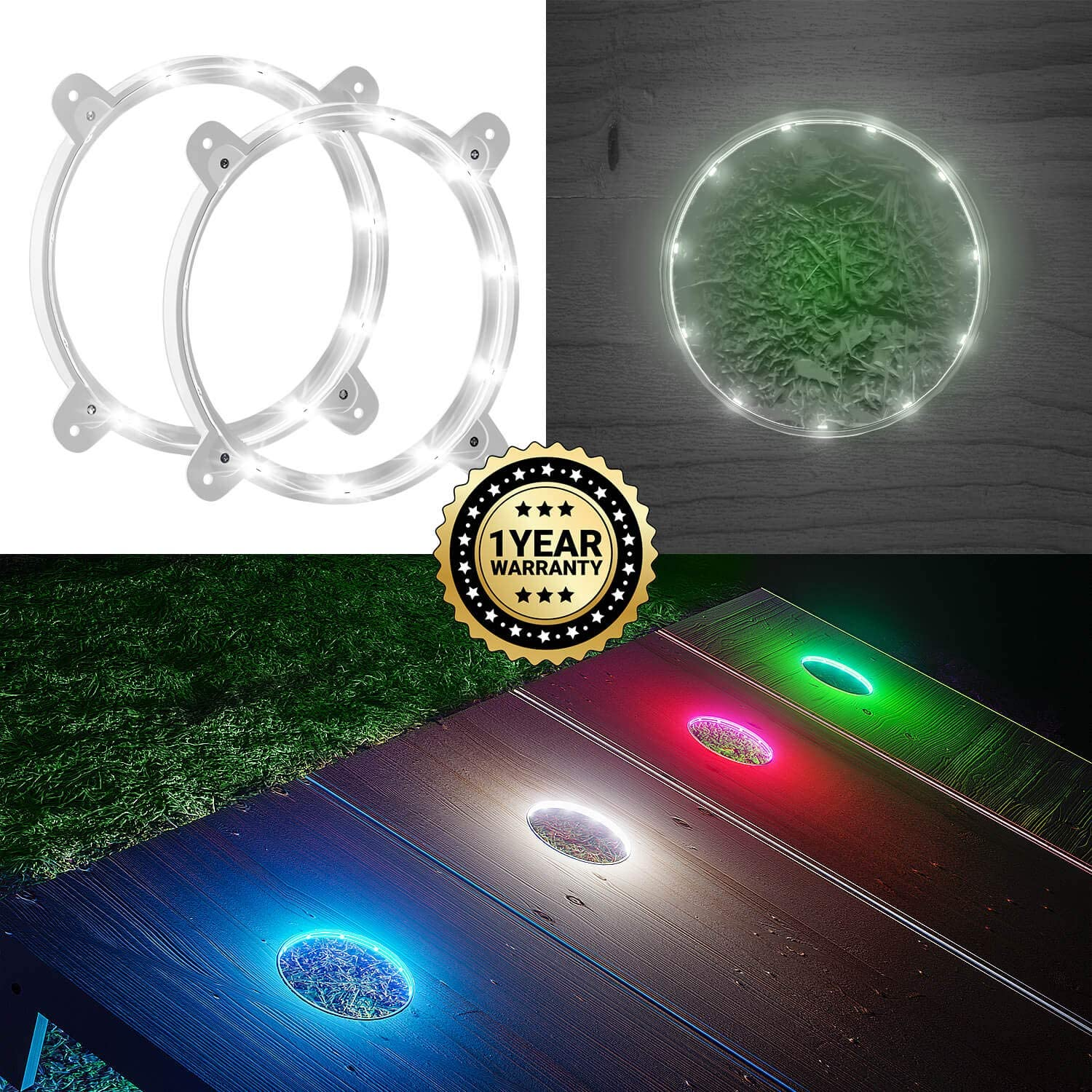 IMMOBIUS Cornhole LED Board Lights so You Can Play at Night  (Set of 2) -Choose from 4 colors- 1 Year Replacement Warranty, Sturdy Build, Lasts 100+ Hours on 2 AA Batteries