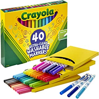 CRAYOLA 58-7861 40 Ultra-Clean Washable Markers, Fineline Markers, 40 Bold Colours, Super Washable, Long Lasting, Colourin...