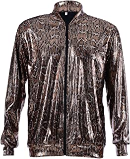 Best Fancy Dress One BFD Holographic Snake Print Bomber Jacket Zip Front, Ideal for Men Or Women, 3 Sizes, Wash on A Cool ...