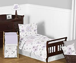 Sweet Jojo Designs Lavender Purple, Pink, Grey and White Shabby Chic Watercolor Floral Girl Toddler Kid Childrens Bedding Set - 5 pieces Comforter, Sham and Sheets - Rose Flower Polka Dot
