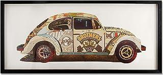 ADM - Escarabajo Volkswagen - Cuadro con efecto 3D realizado con técnica de collage, enmarcado y protegido por un cristal ...
