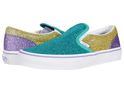Vans Kids Classic Slip-On (Big Kid) ((Mermaid Glitter) Color-Block) Girls Shoes