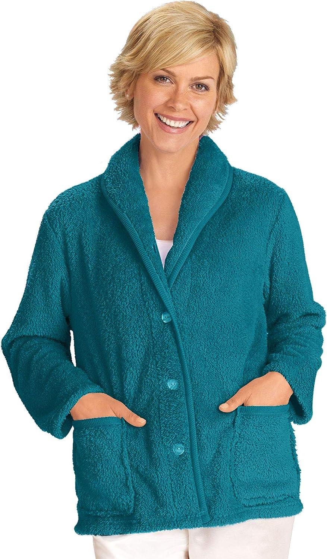 AmeriMark Women's Fleece Bed Jacket - Button キャンペーンもお見逃しなく Robe with Dow 大特価!! Short
