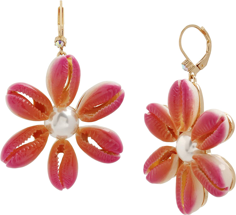 Betsey Johnson Puka Shell Flower Drop Earrings