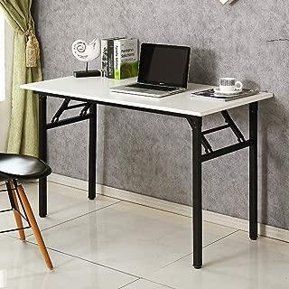 Need 47 inches Folding Computer Desk Office Desk Folding Table with BIFMA Certification Workstation Desk Studio Desk,White Black AC5DB-120