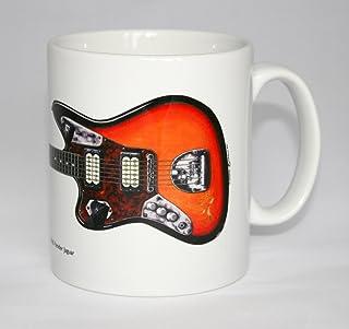 Tazza di chitarra. Illustrazione di Fender Jaguar 1965 di Kurt Cobain.
