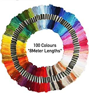 Premium Embroidery Thread 100 Unique Colours Cross Stitch Threads, Bracelets, Crafts Floss Free Needle Threader