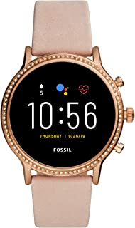 Unisex 44MM Gen 5 Julianna HR Heart Rate Stainless Steel and Leather Touchscreen Smart Watch, Color: Rose Gold/Blush (Model: FTW6054)