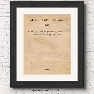 Lewis Carroll Alice in Wonderland Quote Poster Prints, Set of 1 (11x14) Unframed Typography Book Page Picture, Great Wall Art Decor Gifts Under 15 for Home, Office, Student, Teacher, Literary Fan