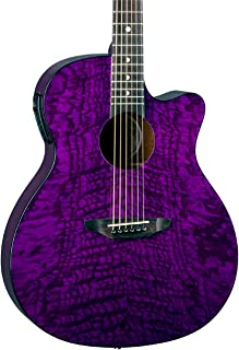 Luna Gypsy Quilt Top Acoustic/Electric Guitar, Trans Purple