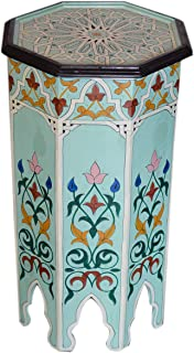 Moroccan Handmade Wood Table Side Tall Delicate Hand Painted Black Exquisite Aqua