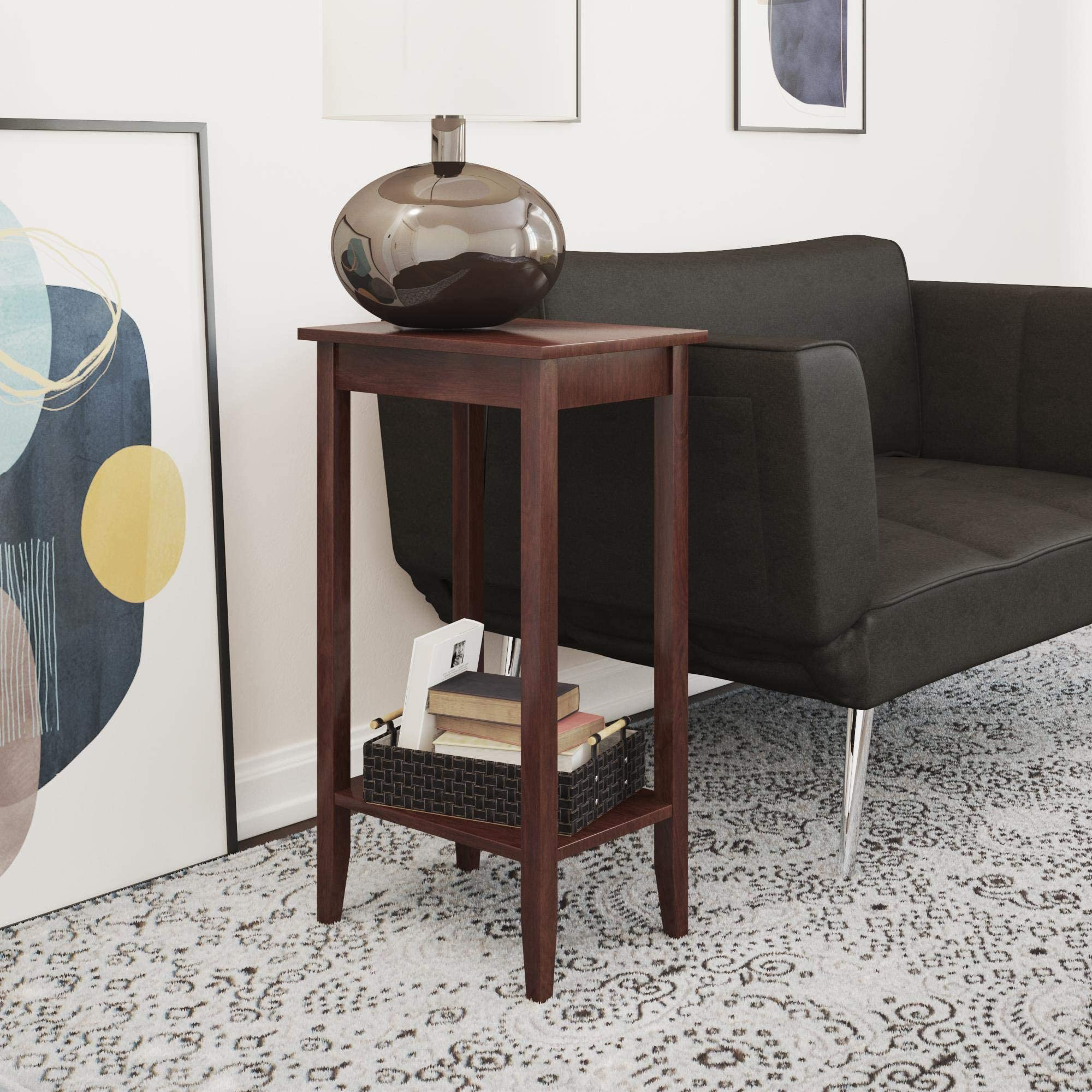 Amazon Com Dhp Rosewood Tall End Table Furniture Decor