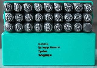 Supply Guy Brand New 8mm ASL Sign Language 26 Piece Metal Punch Design Alphabet Stamp Set CH-8MMSIGN