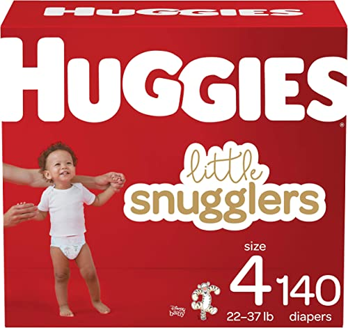 Huggies Little Snugglers, Baby Diapers Size 4, 140 Ct