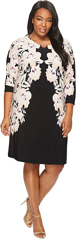 Calvin Klein Plus - Plus Size 3/4 Sleeve Dress w/ Arch Hardware
