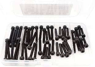iExcell 50 Pcs M4 x 20mm/25mm/30mm/35mm/40mm 12.9 Grade Alloy Steel Hex Socket Head Cap Screws Kit, Black Oxide Finish
