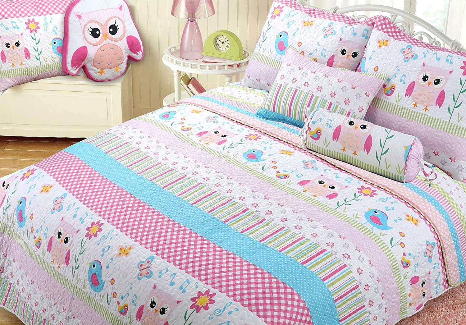 Cozy Line Home Fashions Happy Be super welcome Reversible Jacksonville Mall Bedding Quilt Owl Pink