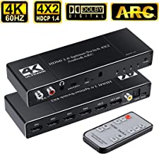 HDMI Switch 4x2 4K@60HZ, avedio links 4 in 2 Out HDMI Switcher Splitter with Optical/Coaxial/3.5mm/R/L Audio Out, 4-Port HDMI Audio Extractor Support ARC,HDMI 2.0, HDCP 1.4 (with IR Remote)-Black