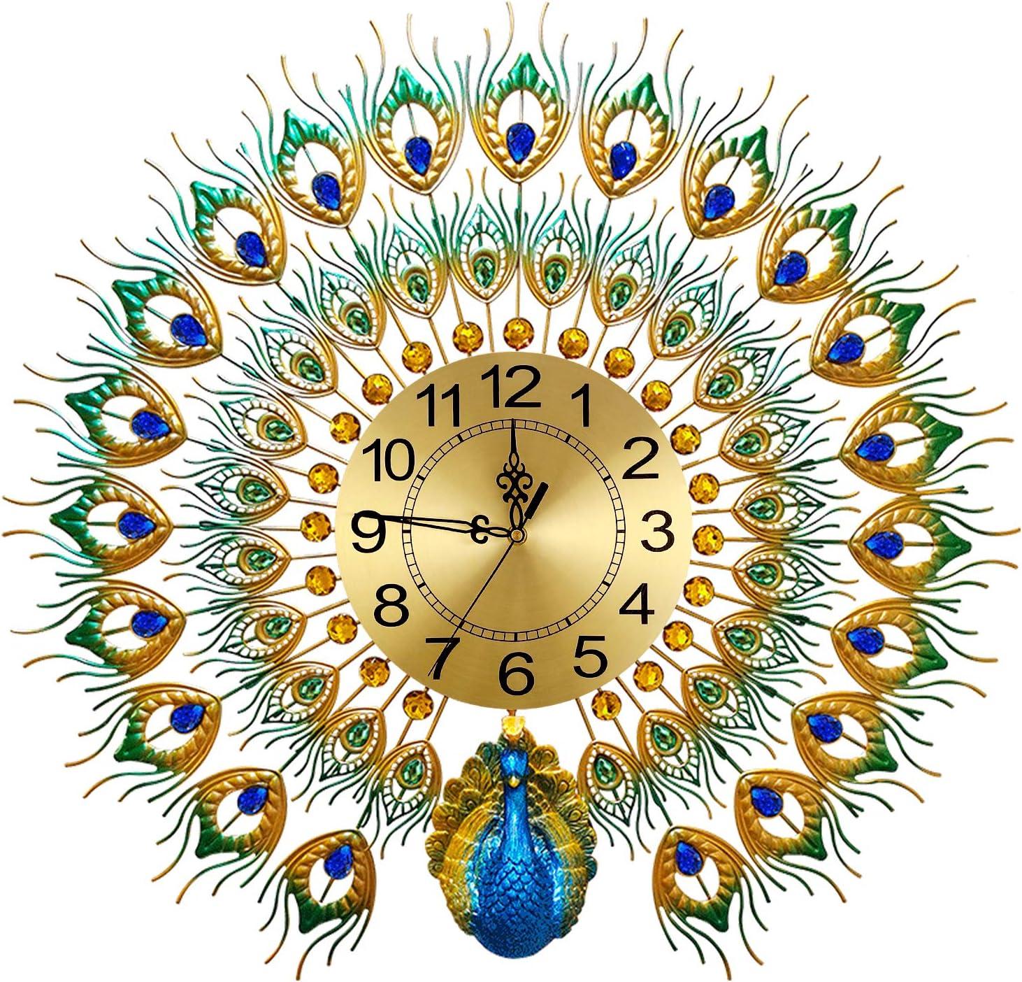 Large Peacock Wall Clock 27.6 Sale Design Non-Ticking inch Popular overseas Metal Sile