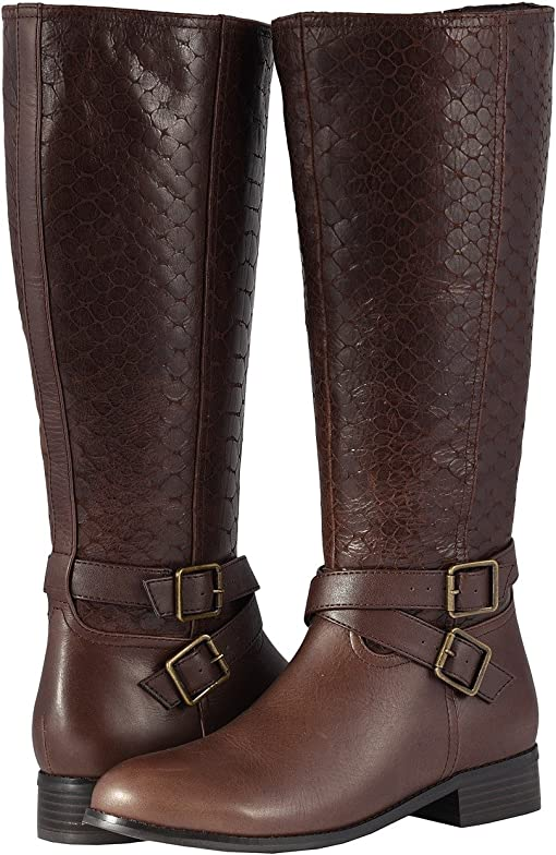 Dark Brown Burnished Leather/Embossed Anaconda