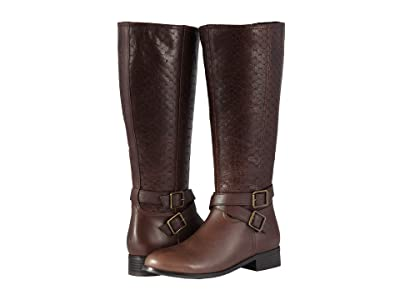 Trotters Liberty (Dark Brown Burnished Leather/Embossed Anaconda) Women