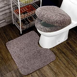 トイレ 3点セット 便座カバー U型O型トイレ兼用フタカバー ト 足元マット フワフワ 防寒 吸水 速乾 コーヒー