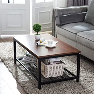 Artist Hand Industrial Style Coffee Table Accent Cocktail Table 42 Inch with Metal Storage Shelf MDF Top Wood Finish 0.8 Inch Thick for Living Room Office Decor Brown