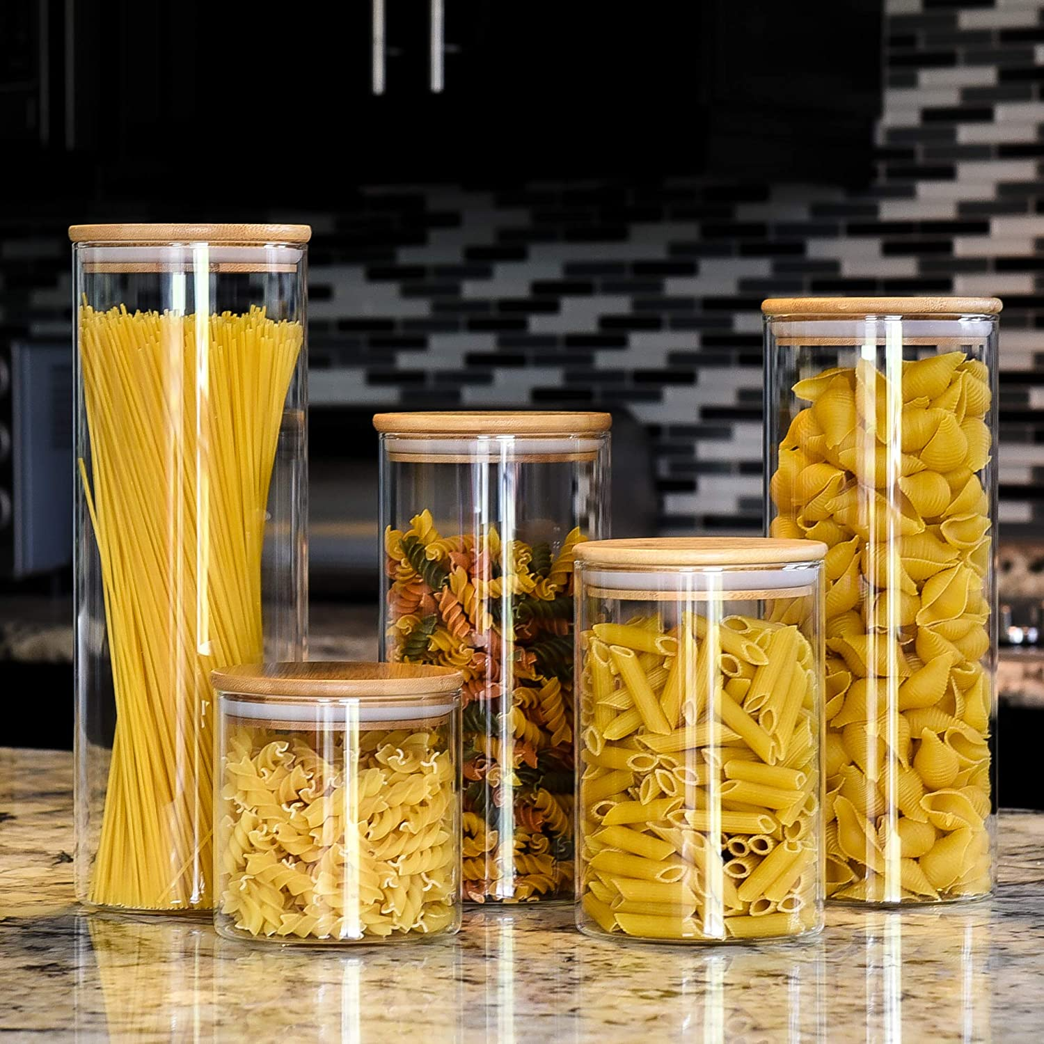 Glass Canister set of famous 5 Storage Popular product Containers Canis Food Airtight
