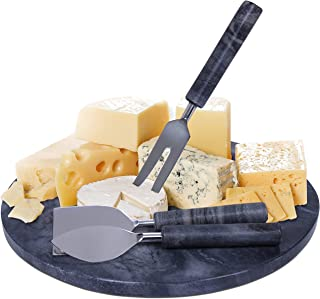 """Black Marble Cheese Board and Cutlery Set - 12"""" Round Marble Serving Tray, Cheese Cutting Board Set for Kitchen and Dining..."""