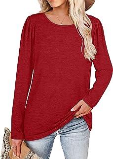 Women's Casual Tunic Tops Puff Sleeve Sweatshirts Round...
