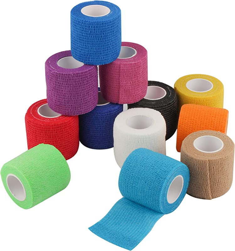 Self Adherent Cohesive Wrap Bandages 2 Inches X 5 Yards 12 Count First Aid Tape Elastic Self Adhesive Tape Athletic Sports Wrap Tape Bandage Wrap For Sports Wrist Ankle Rainbow Color