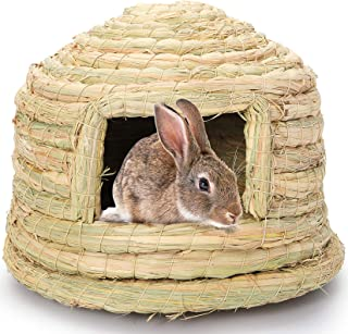 Yesland Bunny Grass House, 8-5/8× 5-7/8 Inches Woven Hideout and Grass Nest, Natural Cage Chew Playhouse Toy for Rabbits G...