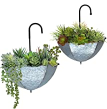 GIFTME 5 Set of 2 Galvanized Metal Umbrella Hanging Wall Planter Flower Holder Indoor or Outdoor Garden Succulent Wall Pla...