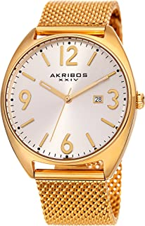 Akribos XXIV Men's Watch AK1026– Fashionable Stainless Steel Mesh Bracelet Sunburst Dial and Date Window