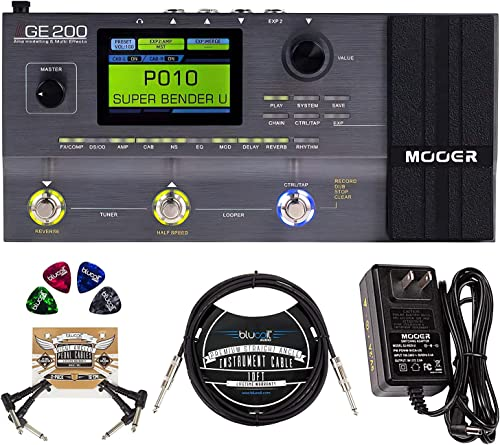 high quality MOOER GE200 Multi Effects Pedal with Amp Modeling 2021 Bundle with 9V Power Supply, Blucoil 10-FT Straight Instrument Cable (1/4in), 2-Pack of Pedal Patch Cables, high quality and 4-Pack of Celluloid Guitar Picks sale