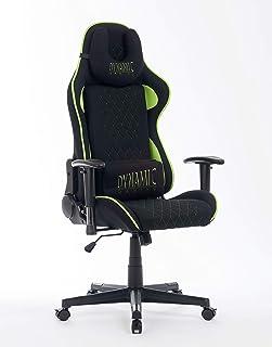 Wohnstation Dynamic Gaming Chair | Silla de oficina Zocker de altura ajustable con funda de tela | Reposabrazos ajustables, cojín de gel integrado y tope para ruedas