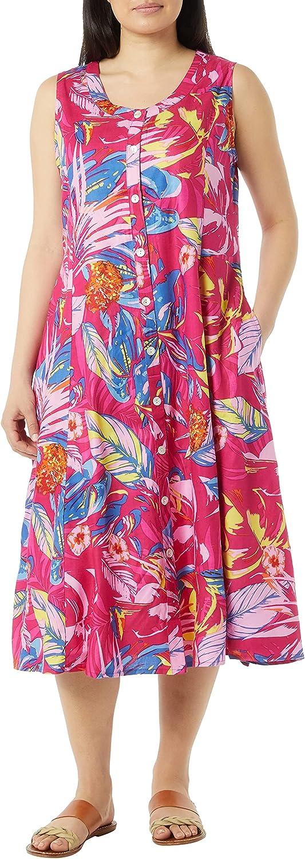 AmeriMark Women's Sleeveless Button-Front Sun Dress - Casual Dress with Pockets