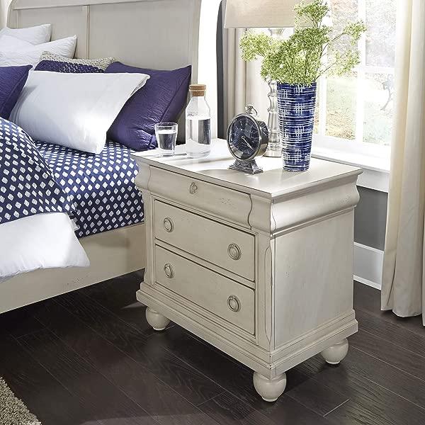 自由家具工业 689 BR61 乡村传统二卧室床头柜 28X17X28 白色饰面