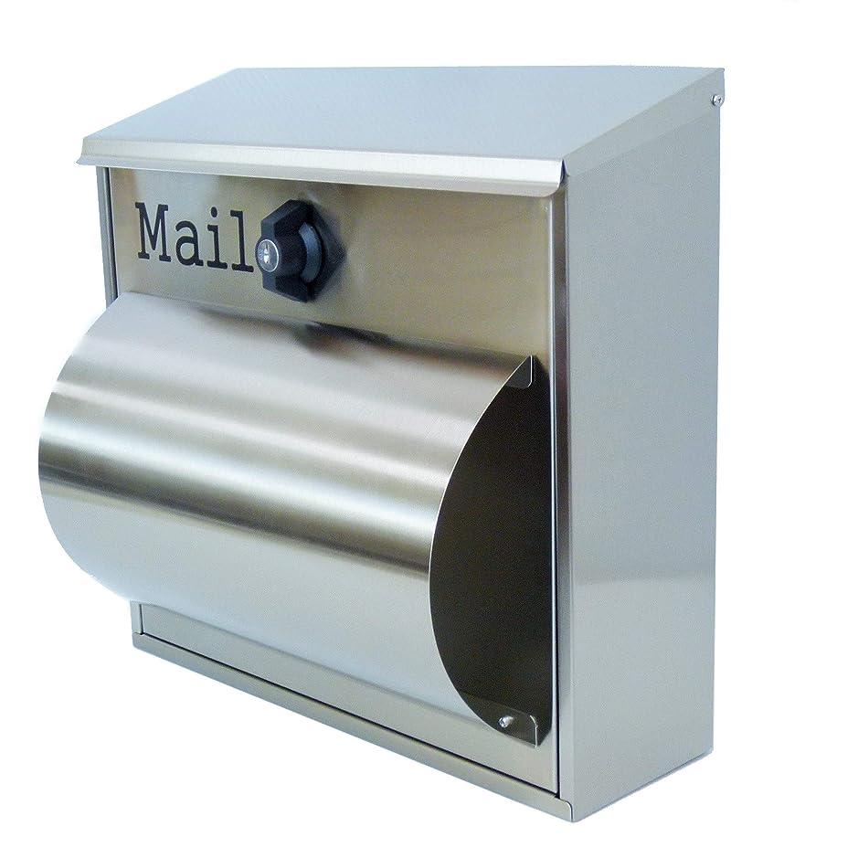 フィットネスブースト甘くする郵便ポスト郵便受け北欧風大型メールボックス 壁掛けプレミアムステンレスシルバーステンレス色ポストpm091