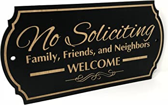 PLS Market Rustic No Soliciting Sign Family Friends and Neighbors Welcome Front Door Sign (3