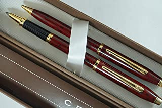 Cross Made in the USA Century II Red Wood and 23k Gold Selectip Rollerball Pen and 0.5MM Pencil Set