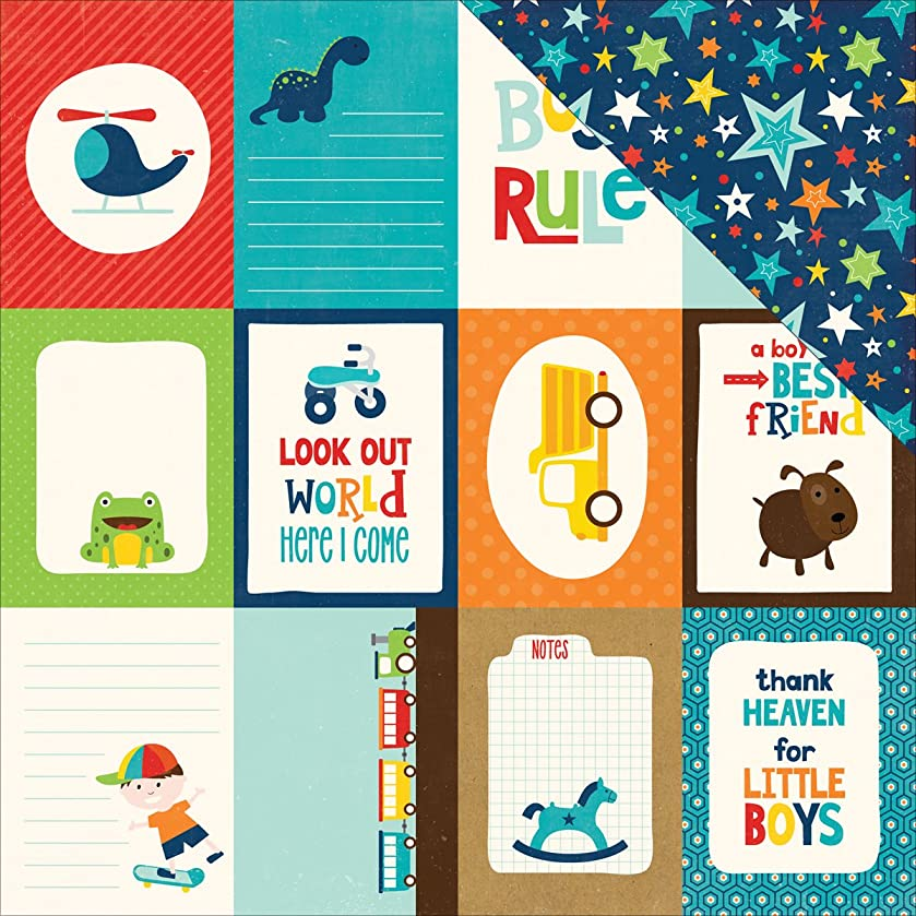 Echo Park Paper LM99011 Little Man Double-Sided Cardstock (25 Sheets Per Pack), 12
