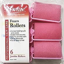 Annie Classic Foam Cushion Rollers #1055, 6 Count Pink Jumbo 1-1/2 Inch